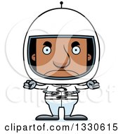Clipart Of A Cartoon Mad Block Headed Black Man Astronaut Royalty Free Vector Illustration by Cory Thoman