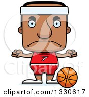 Clipart Of A Cartoon Mad Block Headed Black Man Basketball Player Royalty Free Vector Illustration by Cory Thoman
