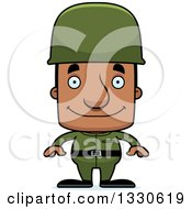 Clipart Of A Cartoon Happy Block Headed Black Army Soldier Man Royalty Free Vector Illustration