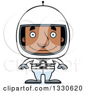 Clipart Of A Cartoon Happy Block Headed Black Man Astronaut Royalty Free Vector Illustration by Cory Thoman
