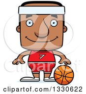Clipart Of A Cartoon Happy Block Headed Black Man Basketball Player Royalty Free Vector Illustration by Cory Thoman