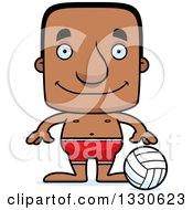 Clipart Of A Cartoon Happy Block Headed Black Man Beach Volleyball Player Royalty Free Vector Illustration