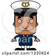 Clipart Of A Cartoon Happy Block Headed Black Man Boat Captain Royalty Free Vector Illustration by Cory Thoman