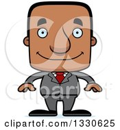 Clipart Of A Cartoon Happy Block Headed Black Business Man Royalty Free Vector Illustration by Cory Thoman