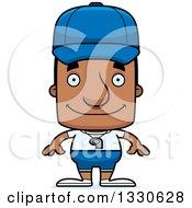 Clipart Of A Cartoon Happy Block Headed Black Man Royalty Free Vector Illustration