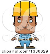 Clipart Of A Cartoon Happy Block Headed Black Man Construction Worker Royalty Free Vector Illustration