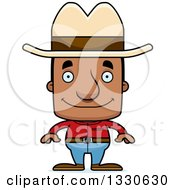 Clipart Of A Cartoon Happy Block Headed Black Man Cowboy Royalty Free Vector Illustration