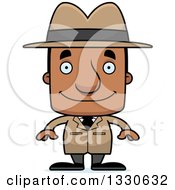 Clipart Of A Cartoon Happy Block Headed Black Man Detective Royalty Free Vector Illustration by Cory Thoman