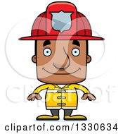 Clipart Of A Cartoon Happy Block Headed Black Man Firefighter Royalty Free Vector Illustration by Cory Thoman