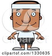 Clipart Of A Cartoon Happy Block Headed Fit Black Man Royalty Free Vector Illustration