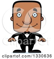 Clipart Of A Cartoon Happy Block Headed Black Man Groom Royalty Free Vector Illustration