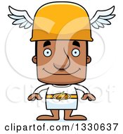 Clipart Of A Cartoon Happy Block Headed Black Man Hermes Royalty Free Vector Illustration