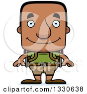 Clipart Of A Cartoon Happy Block Headed Black Man Hiker Royalty Free Vector Illustration by Cory Thoman
