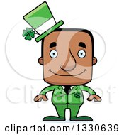 Clipart Of A Cartoon Happy Block Headed Irish St Patricks Day Black Man Royalty Free Vector Illustration by Cory Thoman