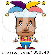 Clipart Of A Cartoon Happy Block Headed Black Man Jester Royalty Free Vector Illustration by Cory Thoman