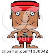 Clipart Of A Cartoon Happy Block Headed Black Man Lifeguard Royalty Free Vector Illustration by Cory Thoman