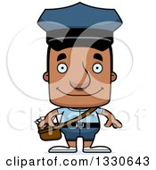 Clipart Of A Cartoon Happy Block Headed Black Mail Man Royalty Free Vector Illustration by Cory Thoman