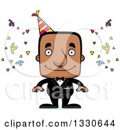 Clipart Of A Cartoon Happy Block Headed Party Black Man Royalty Free Vector Illustration by Cory Thoman