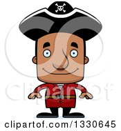 Clipart Of A Cartoon Happy Block Headed Black Man Pirate Royalty Free Vector Illustration