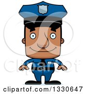 Clipart Of A Cartoon Happy Block Headed Black Man Police Officer Royalty Free Vector Illustration by Cory Thoman