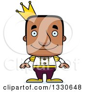 Clipart Of A Cartoon Happy Block Headed Black Man Prince Royalty Free Vector Illustration by Cory Thoman