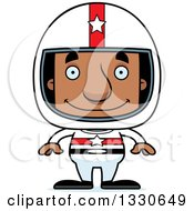 Clipart Of A Cartoon Happy Block Headed Black Man Race Car Driver Royalty Free Vector Illustration