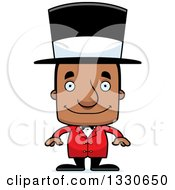 Clipart Of A Cartoon Happy Block Headed Black Man Circus Ringmaster Royalty Free Vector Illustration
