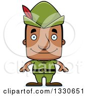 Clipart Of A Cartoon Happy Block Headed Robin Hood Black Man Royalty Free Vector Illustration by Cory Thoman