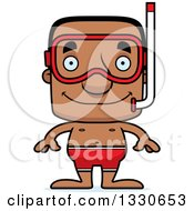 Clipart Of A Cartoon Happy Block Headed Black Man In Snorkel Gear Royalty Free Vector Illustration by Cory Thoman