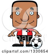 Clipart Of A Cartoon Happy Block Headed Black Man Soccer Player Royalty Free Vector Illustration by Cory Thoman