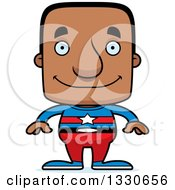 Clipart Of A Cartoon Happy Block Headed Black Man Super Hero Royalty Free Vector Illustration