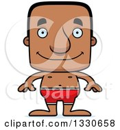 Clipart Of A Cartoon Happy Block Headed Black Man Swimmer Royalty Free Vector Illustration