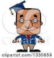 Cartoon Happy Block Headed Black Man Professor