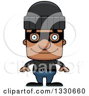 Clipart Of A Cartoon Happy Block Headed Black Man Robber Royalty Free Vector Illustration by Cory Thoman