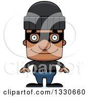 Clipart Of A Cartoon Happy Block Headed Black Man Robber Royalty Free Vector Illustration by Cory Thoman