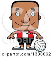 Clipart Of A Cartoon Happy Block Headed Black Man Volleyball Player Royalty Free Vector Illustration by Cory Thoman