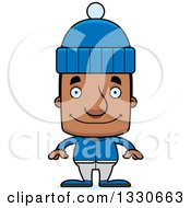 Clipart Of A Cartoon Happy Block Headed Black Man In Winter Clothes Royalty Free Vector Illustration by Cory Thoman