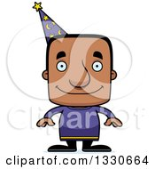 Clipart Of A Cartoon Happy Block Headed Black Man Wizard Royalty Free Vector Illustration by Cory Thoman