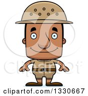 Clipart Of A Cartoon Happy Block Headed Black Man Zookeeper Royalty Free Vector Illustration