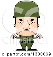 Clipart Of A Cartoon Mad Block Headed White Man Soldier Royalty Free Vector Illustration