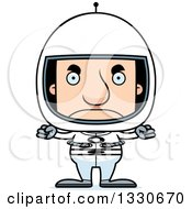 Clipart Of A Cartoon Mad Block Headed White Man Astronaut Royalty Free Vector Illustration