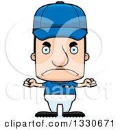 Clipart Of A Cartoon Mad Block Headed White Man Baseball Player Royalty Free Vector Illustration