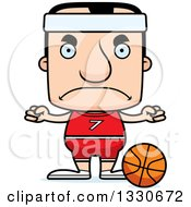 Clipart Of A Cartoon Mad Block Headed White Man Basketball Player Royalty Free Vector Illustration by Cory Thoman