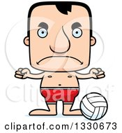 Clipart Of A Cartoon Mad Block Headed White Man Beach Volleyball Player Royalty Free Vector Illustration