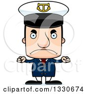 Clipart Of A Cartoon Mad Block Headed White Man Boat Captain Royalty Free Vector Illustration by Cory Thoman