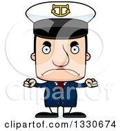 Clipart Of A Cartoon Mad Block Headed White Man Boat Captain Royalty Free Vector Illustration