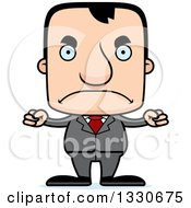 Clipart Of A Cartoon Mad Block Headed White Business Man Royalty Free Vector Illustration