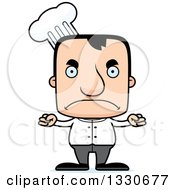 Clipart Of A Cartoon Mad Block Headed White Man Chef Royalty Free Vector Illustration