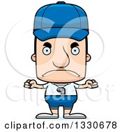 Clipart Of A Cartoon Mad Block Headed White Man Sports Coach Royalty Free Vector Illustration
