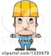 Clipart Of A Cartoon Mad Block Headed White Man Construction Worker Royalty Free Vector Illustration by Cory Thoman